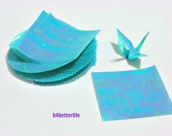 "100 Sheets 3"" x 3"" Light Blue Color DIY Chiyogami Yuzen Paper Folding Kit for Origami Cranes ""Tsuru"". (TX paper series). #CRK-67."