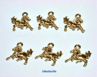 "Lot of 24pcs Double Sided ""Horse"" Gold Color Plated Metal Charms. #XX43."