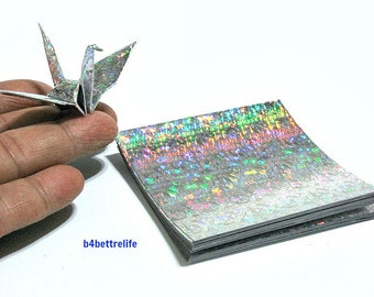 "100 Sheets 3"" x 3"" Silver Color DIY Chiyogami Yuzen Paper Folding Kit for Origami Cranes ""Tsuru"". (4D Glittering paper series). #CRK-33."