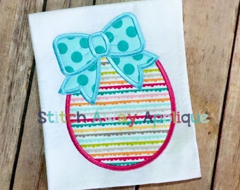 Bow Easter Egg Machine Applique Design