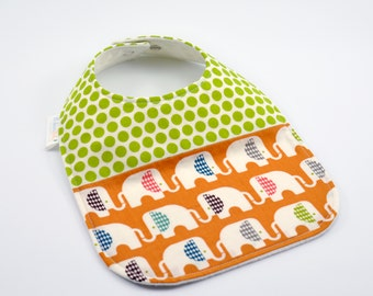 Organic Baby Bib - Teething Bib, Drool Proof! - Orange Elephants, Green Dots
