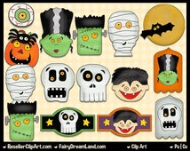 Frightful Faces Clip Art - Commercial Use Graphic Digital Image Clipart - Instant Download - Halloween, Mummy, Vampire, Skull, Frankenstein