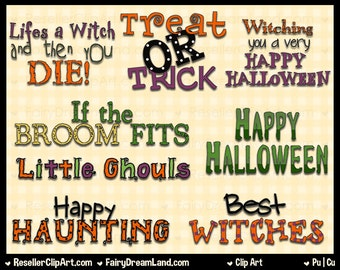 Happy Halloween Titles Clip Art - Commercial Use Graphic Digital Image Png Clipart Set - Instant Download - Word Art