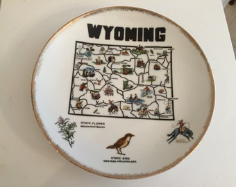 Vintage Souvenir Wyoming Plate
