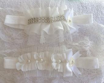 Baby Infant Girls Diamante or Pearl Ruffle Headband Christening Ivory 0-18 month