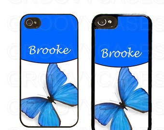 Personalized iPhone 4 4s 5 5s 5c SE Case Rubber Blue Butterfly