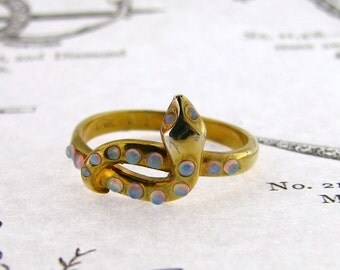Victorian inspired Snake Opal ring, Sterling Silver