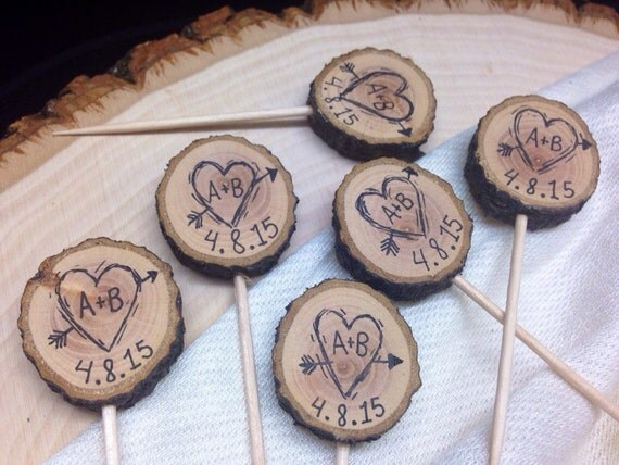 rustic cake toppers rustic wedding cupcake toppers custom initials by 7191