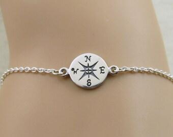 Compass bracelet, Sterling Silver compass bracelet, travel bracelet, graduation gift, friendship bracelet, bridesmaid gift ,personalized
