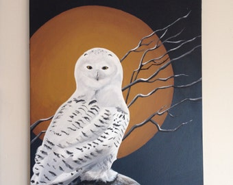 "Canvas Art ""Snowy Owl"" Original Paining - 18"" x 24"""