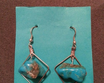 Sterling Silver & Turquoise Nugget Earrings