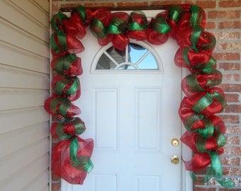 Christmas garland, holiday mantel garland, deco mesh garland, holiday decor,Christmas door decoration, mantel decor,Christmas decor, w1132