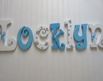 Nursery letters, Nursery wall hanging letters, nursery decor, White & aqua/turquoise nursery wall letters