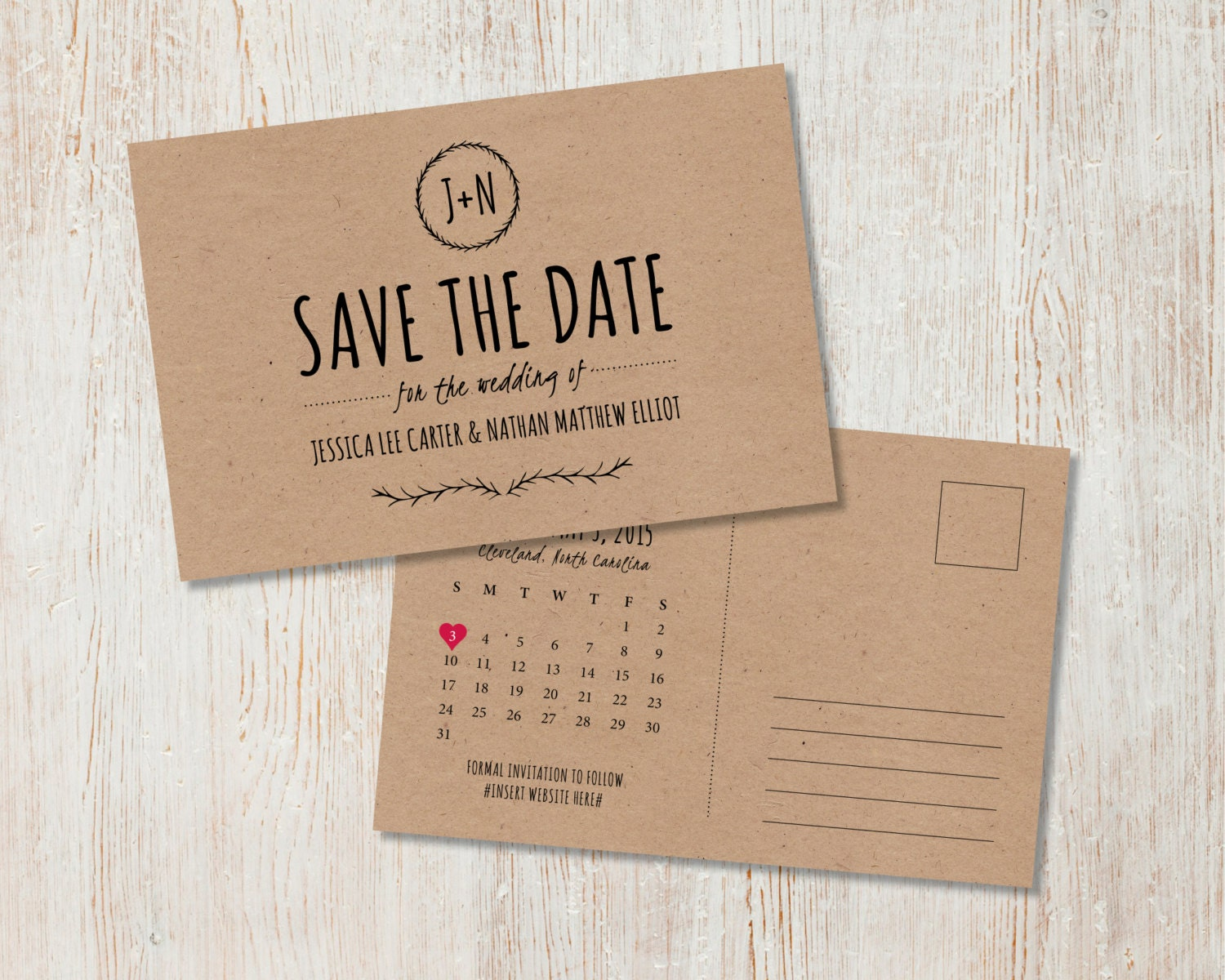Wedding Save The Date Postcards: Rustic Wedding Save The Date, Kraft Save The Date, Rustic