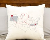connected cities printed pillow, personalized two states with connected hearts, personalized love pillow - connect any cities with hearts