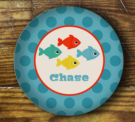 Personalized Dinner Plate or Bowl-Fish School