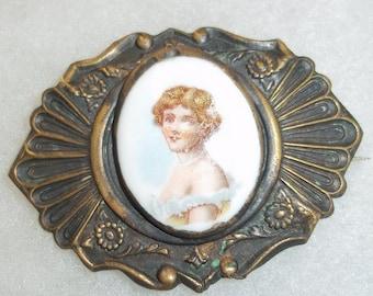 Vintage Porcelain Portrait Brooch Edwardian Style