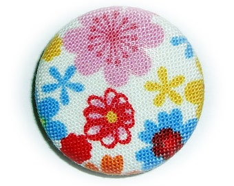 Flowers pin back button or magnet