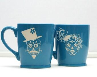 His and Hers Sugar Skull Coffee Mugs,Christmas Gift,Personalized Coffee Mug,Engraved Gift,Custom Coffee Mug,Anniversary Gift,Day of the Dead