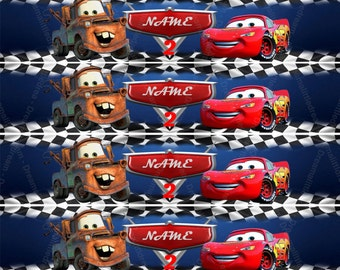 Disney Cars Editable Bottle Labels