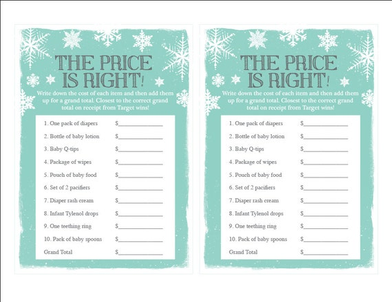 Items similar to Printable Price is Right Baby Shower Game ...
