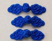 Blue frog closure. Celtic knot. Set of 3