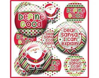 Christmas Bottle Cap Image Sheet, Dear Santa I can Explain, Define Good