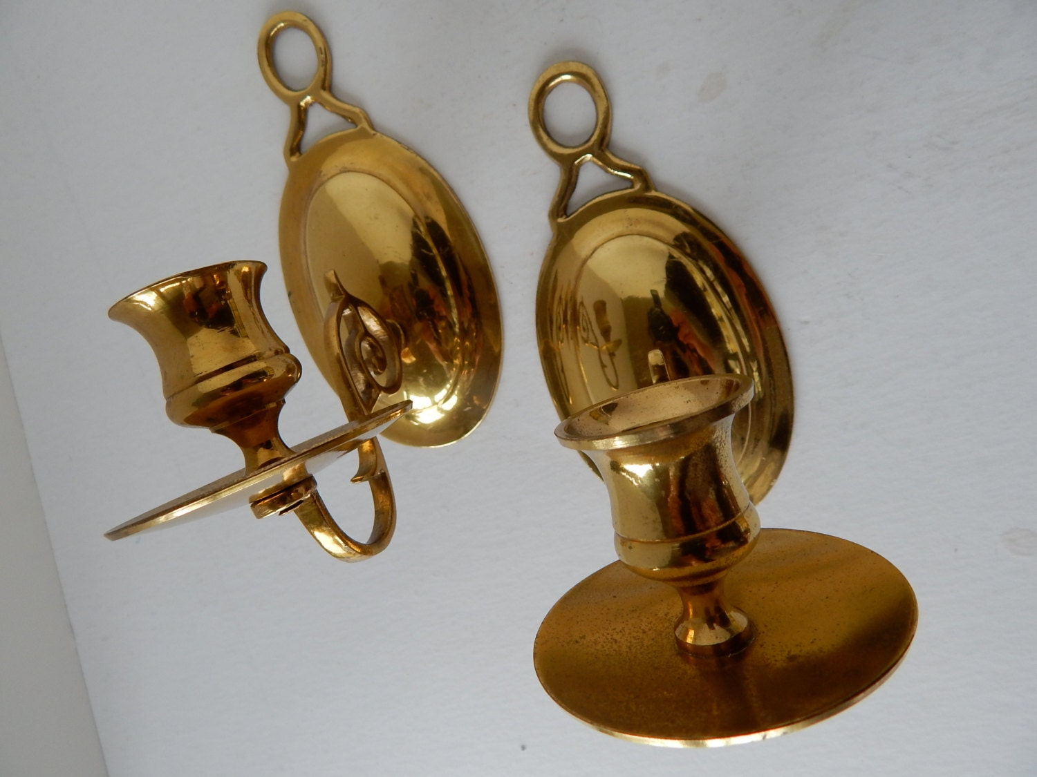 Brass Wall Sconces Candle Holders : Mid Century Brass Candle Holder Wall Sconce Set of Two