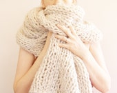 Super Maxi Scarf/Organic Wool/White