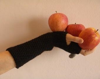 Mittens Arm Warmers / MEGGIE / Crochet / Black Wool
