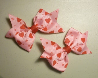 Pink With Red Hearts Bow Set of 2