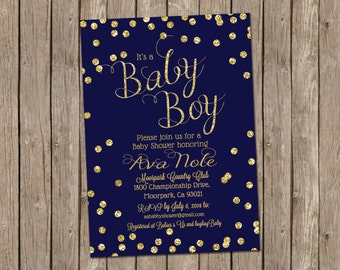 Baby Boy Shower Invitation in Navy and Gold with Gold Glitter Confetti - printable 5x7