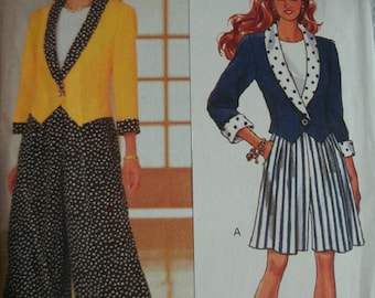 Misses Jacket, Split Skirt, and Top size 6-8-10 Butterick Fast & Easy Pattern 6590 Rated Very Easy to Sew UNCUT Pattern Dated 1993
