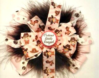 Cutest Little Cowgirl hair bow , Over the top hair bow with marabou fluff , Cowgirl bow , Country girl hair bow , Bottle cap hair bow