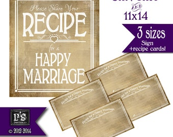 Recipe for a Happy Marriage Sign and Recipe Cards - PRINTABLE - wedding shower game - guest book - Vintage White Open Heart Collection