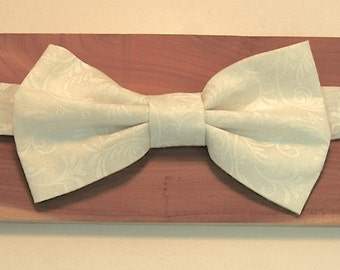 White Damask Adjustable Bowtie for Boys - Elastic Back - Special Occasion - Birthday - Wedding - Party - Holidays - Formalwear