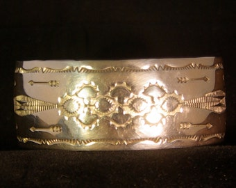 Navajo Tooled Silver 1 inch cuff bracelet