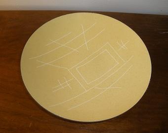 Mid Century Modern Vallenti Italian Yellow Enamel Round Bowl Dish