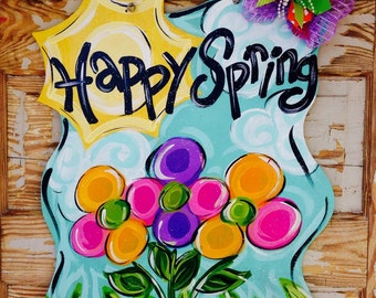 Happy Spring Flower Sunshine Door Hanger Door Decor Wreath