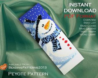 Peyote Pattern Bracelet Cuff Beading Miyuki Delica Size 11 Beads - PDF Download - Christmas Snowman