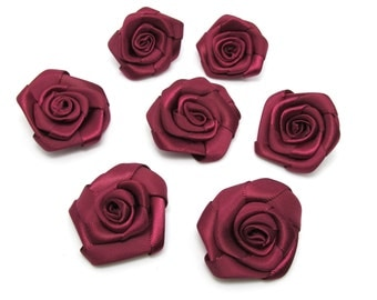 8 Pieces 1 1/2 Inches Wine Satin Ribbon|Rose Flowers|Craft Supplies|Doll Boutique|Hair Accessory Material|Bow|Decoration|Carnation