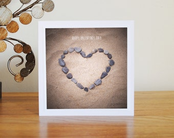 Happy Valentines Day Card - romantic, heart pebbles, sand, cornwall beach, surf, love, personalized card, valentines day card,