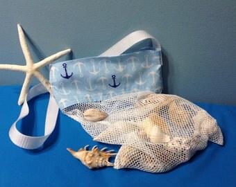 Shell Bag, Sea Shell Bag, Anchors Shell Collecting bag, Adult, Kids, Boys, Mesh Bag, Beach Bag, SeaShell mesh bag, sheashells bag,