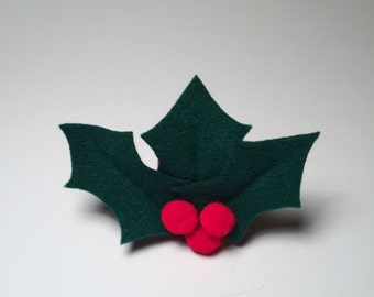 Christmas Holly Dog Collar Attachment
