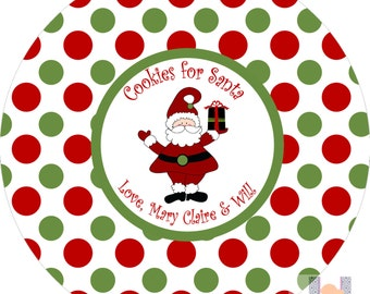 Monogram Santa Polka Dot Cookie Christmas Plate. Start a FUN holiday tradition with a plate customized with your family name. PERFECT GIFTS!