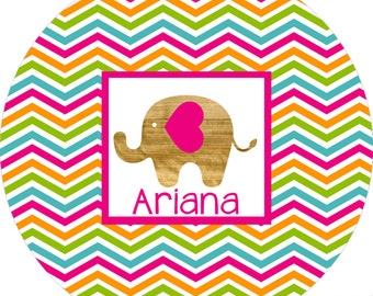 Monogrammed elephant chevron melamine dinner plate for girls!  A FUN and UNIQUE gift idea! Kids love eating on personalized plates!