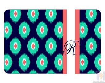 Monogram navy green coral chevron ikat serving tray.A unique and stylish hostess or birthday gift! Choose your colors! Entertain with style!