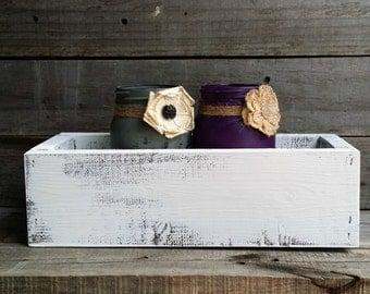Distressed Rustic Wooden Box Centerpiece with 3 Mason Jars, Rustic Wedding Decor, Rustic Home Decor, Shabby Chic Planter Box