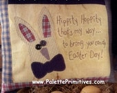Hippity Hoppity Stitchery Pillow - Instant Download E-pattern