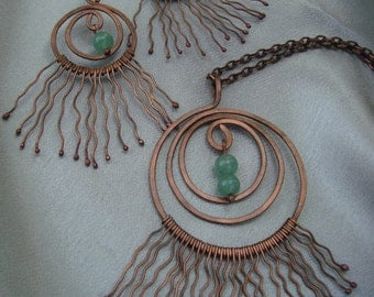 Copper Necklace&Earrings Set, with Jade bead